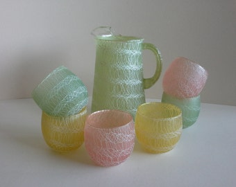 Colorcraft Spaghetti Pitcher and 6 Tumblers.
