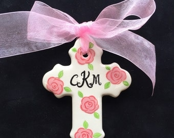 Pink roses Personalized Cross Ornament- Easter, Baptism, Christening or Baby Shower Gift