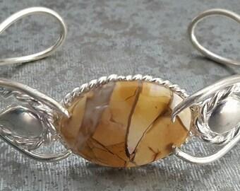 SALE!! Sterling Silver Bracelet, MOOKAITE, Brecciated, Sterling Silver Jewelry, Mookaite Bracelet, Mookaite, Silver Jewelry, Designer Cuff