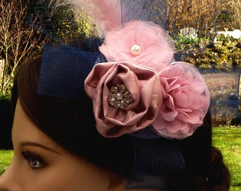 Hair Fascinator headdress, bridal headpiece, pink hair flower with veil and feathers, hat, hairdress, wedding headpiece