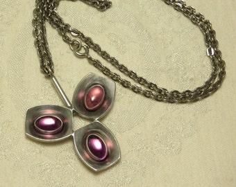Vintage Mid century moderist Jorgen Jensen Denmark mod chunky pewter amethyst glass pendant necklace