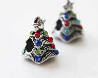 Antiqued Silver Christmas Tree with Rhinestones Large Hole Pandora Style European Bead Charms Set of 2