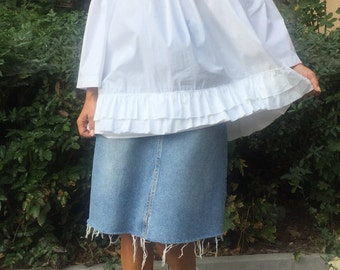 Maxi Off the Shoulder White Shirt,Oversize Extravagant White Blouse,Off The Shoulder Top,Plus Size White Shirt