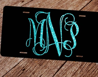 Glitter Monogram License Plate. (Faux) Glitter License Plate Frame. Custom License Plate. Monogram Car Tag. Front License Plate. Black