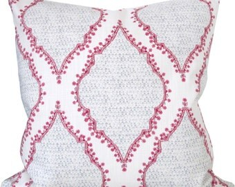 Azma In Magenta/Gray-Designer Decorative Pillow Cover-Duralee-Accent Pillow-Single Sided