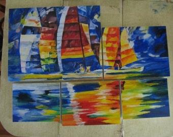 Sailboats on Wood//Acrylic