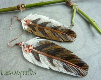 Barn Owl Leather Feather Earrings with copper wire spirals
