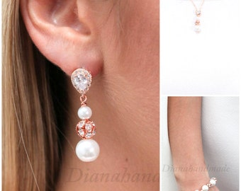 Ivory Pearl Earrings, Wedding Earrings, Bridal Jewelry, Bridal Earrings, Drop Pearl Earrings,personalized bridesmaid gift ,bridal party gift
