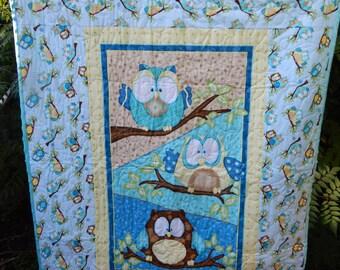 Handmade Teal Owls Baby Quilt