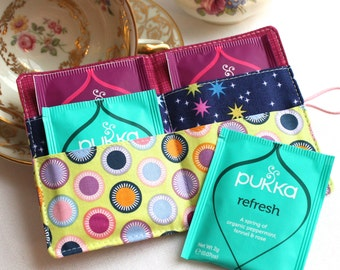 Fresh circles - travel tea bag wallet, teabag holder - perfect Christmas present, stocking filler