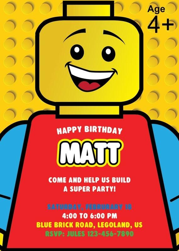 Lego Invitation, Lego Birthday Party Invite, Lego Birthday invitation, lego invite, legoland ...