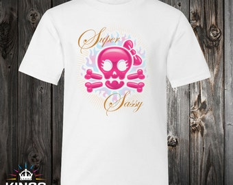 Super Sassy Pink Graphic on White Tee, cute, pink, girls, skulls, flames, biker, classy, gift, present
