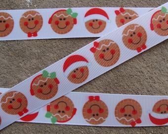 """7/8"""" Gingerbread Ribbon Candy Ribbon 3 yards Grosgrain Ribbon Hair Bow Ribbon Christmas Ribbon Candy Cookie Ribbon"""