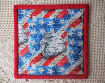 Patriotic mug rug, snack mat, candle mat, made from cotton fabric, American Bald Eagle head motif, table protector, vase mat, mug mat