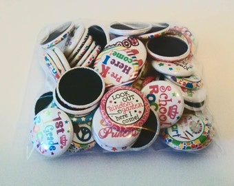 50 Piece Grab Bag Back To School Themed 1 Inch Flat Back Embellishments Buttons Flair