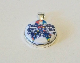 Rainbow Puzzle Ribbon Awareness Philippians 4:13 I Can Do All Things Through Christ Who Strengthens Me Round Silver Pendant