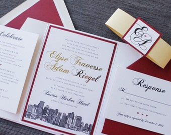 Skyline with Heart Wedding Invitation - City, Waterfront Theme - Gold Foil, Red, White, Black- Boston Harbor Hotel