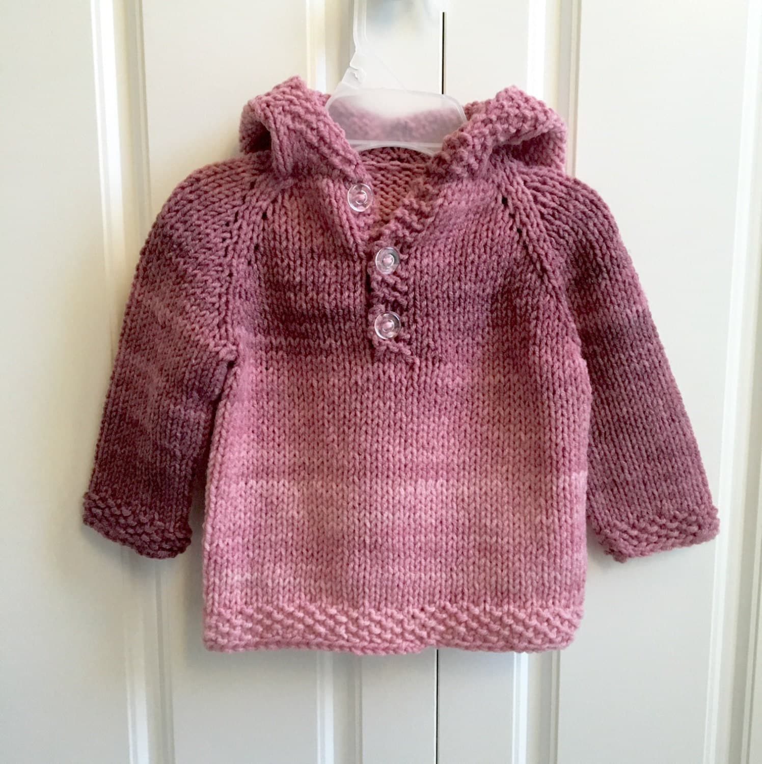 Baby Hooded Sweater Baby Clothes Pink Knit Sweater Ombre