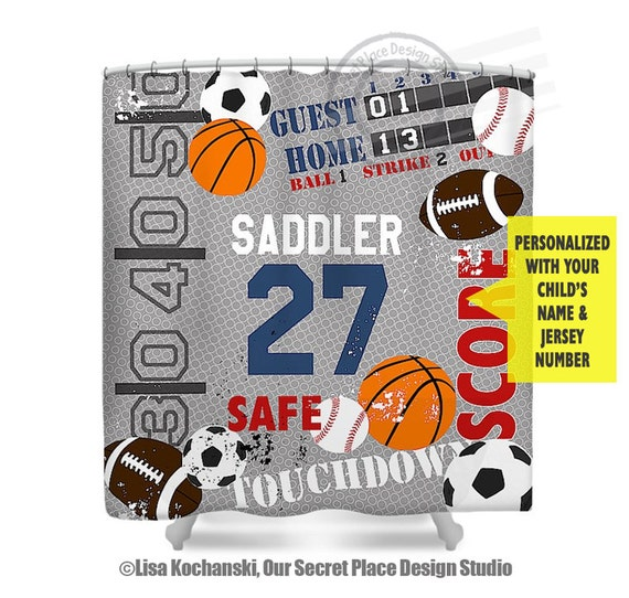 Sports shower curtain boys bathroom decor sports decor for for Sports themed bathroom decor