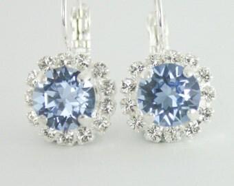 cornflower blue crystal earrings,light sapphire crystal earrings,swarovski earring,swarovski,something blue,blue wedding jewelry,sapphire