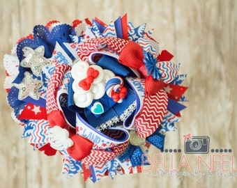4th of July, Fourth of July, Patriotic, American, USA, light up hair bow,
