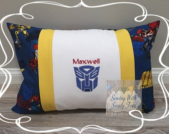 Kids Pillow, Transformers Inspired Pillow case, Personalized Transformers , OptimusPrime Pillow Cover, Bumble Bee Pillow Cover, Kids