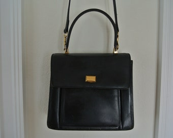 Bally Handbag Black Leather Kelly Bag Cross Body Shoulder Bag 1990s Grunge