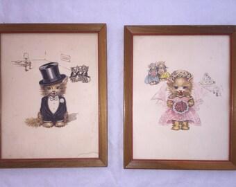 1950s Vintage Kitty Cat Bride & Groom Print Set, Kitschy Retro Wedding Gift, Cat Lovers, Set of Two Framed Art