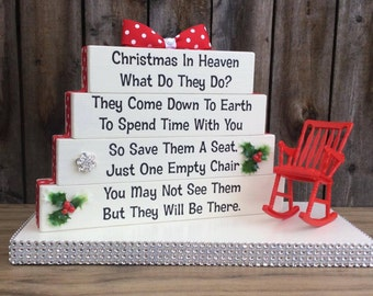 Christmas in Heaven Poem memorial table top wood sign with plastic chair