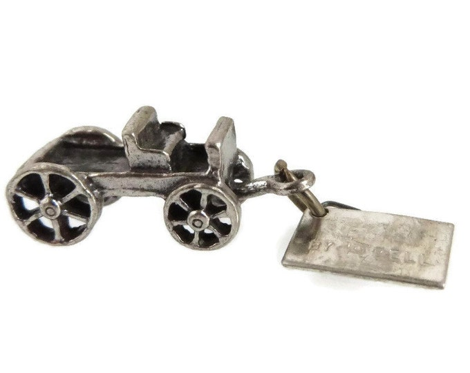 Sterling Silver Wagon Charm, Bell Sterling Charm, Vintage 3D Charm, Rawhide Arizona Pendant