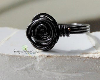 Black Rose Ring, Wire Wrapped Ring, Wire Wrapped Jewelry, Wire Rose Ring, Wire Wrapped Rose, Twisted Wire Ring, Twisted Rose Ring, Rose Ring