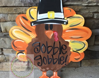 Turkey Door hanger | fall door hanger | thanksgiving door hanger | thanksgiving wreath | turkey & Thanksgiving door | Etsy Pezcame.Com