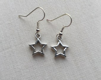 Tiny Cut Out Star Earrings - Silver Charm Jewellery Fairy Star Design Steampunk