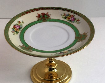 Lovely Cake Plate/Cupcake Stand With  Floral Pattern and Green/ Gold Rim
