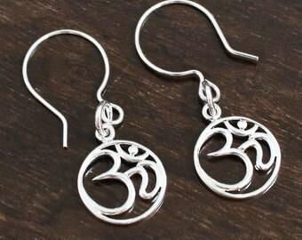 Silver Om Earrings, Girlfriend Gift, Bridesmaids Gift, Yoga Jewelry, Sterling Silver Earrings, Spiritual Gifts, Simple Zen Earrings,