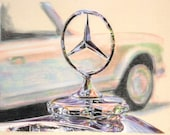 Original one-off drawing of a Mercedes Benz badge with another Mercedes in the background, in charcoal and pastel