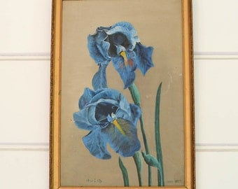Floral Painting Antique Iris Painting 1917
