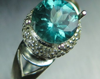 2cts Natural Paraiba sea blue Apatite Portuguese round cut 8.20mm & white topaz Sterling 925 Silver engagement ring all sizes