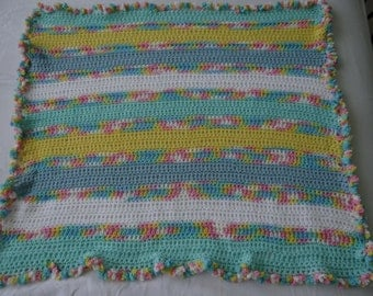 Aqua - Yellow Ruffle Edge Baby Blanket