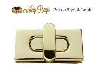 Purse Twist Lock / Purse Turn Locks / Rectangular Turn Lock / Bag Hardware for Handbags, Purses, Totes (Light Gold Finish)