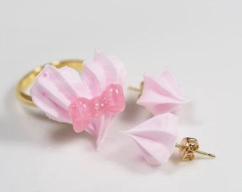 Pink Whipped Cream accessory set / Ring & Earring