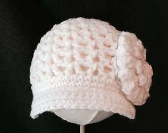 White Flower Newsboy Hat- Size 0-3 months