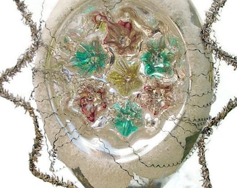 Vintage Crinkle Wire Wrapped Double Indent Ornament, Large Teardrop Ornament, Wire Wrapped Blown Glass Ornament, Double Indent Teardrop Bulb