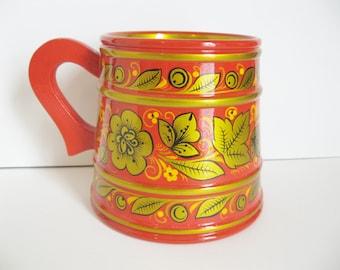 Red Khokhloma Russian Folk Art Wooden Tankard