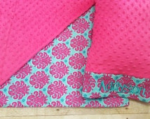 Nap Mat Cover - Aqua & Pink Damask - Choose Your Colors - Kindermat - Back To School - Pillowcase - Blanket - Minky - Embroidery