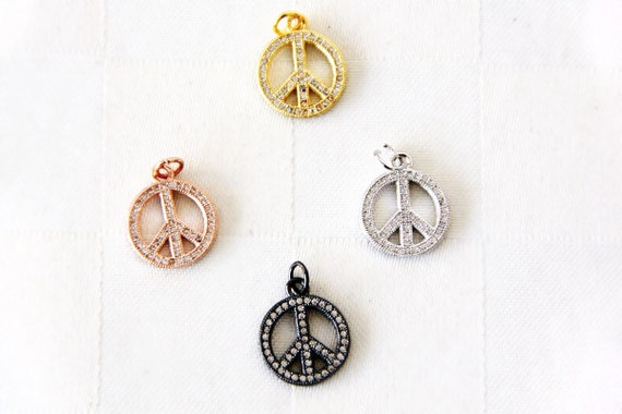 CZ Micro Pave 14mm Peace Sign  Charm with Jump Ring