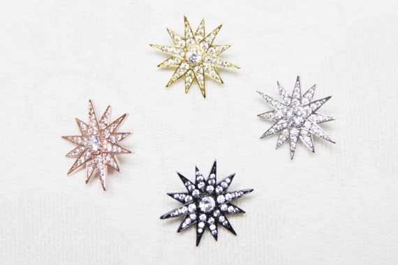 CZ Micro Pave 20mm Starburst For Chocker Necklace