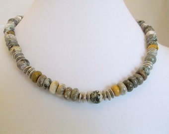 18 inch Ocean Jasper and Silver Necklace   One of a kind