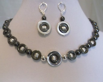 Hematite-Silver Circles 17 inch Necklace and Earrings Set.  Cool, Calm and Collected