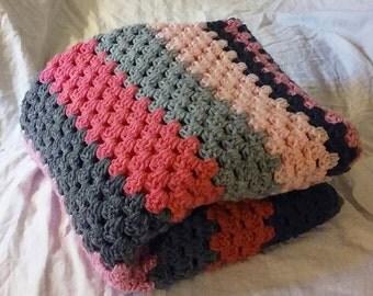 Crochet Grey and Pink Granny Stripe Baby/Crib Blanket